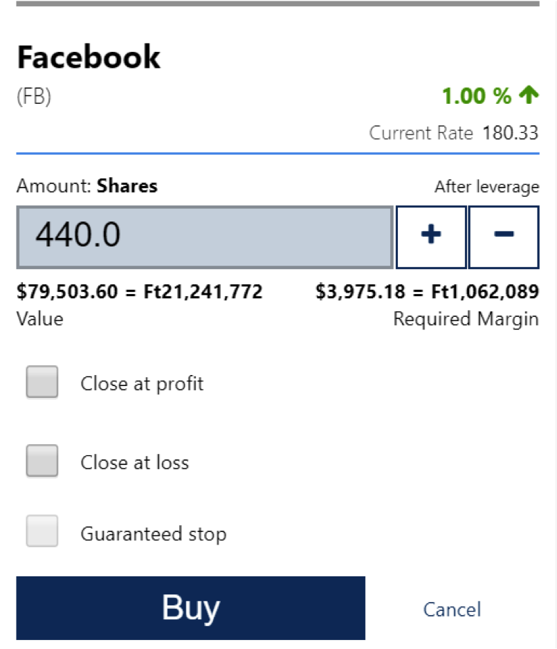 How to buy and sell Facebook CFD stocks on Plus500 broker -2 * Illustrative prices