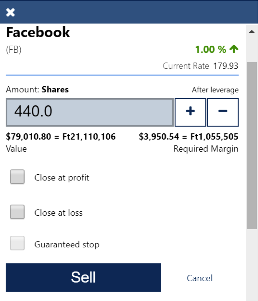how to buy and sell Facbook stocks on Plus500 broker -3